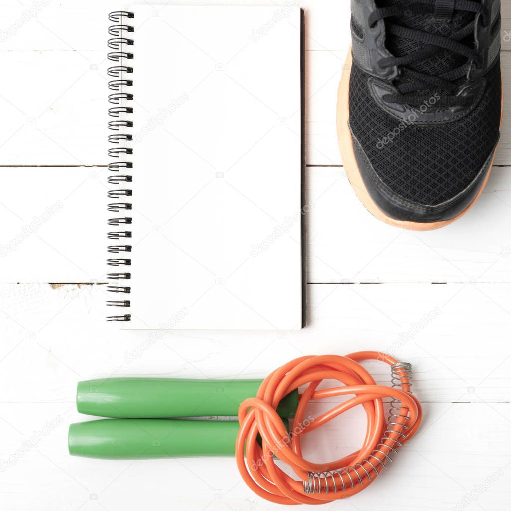 Fitness Equipment Running Shoes Jumping Rope Notepad White Wood Table - S , #Sponsored, #Shoes, #Jum...