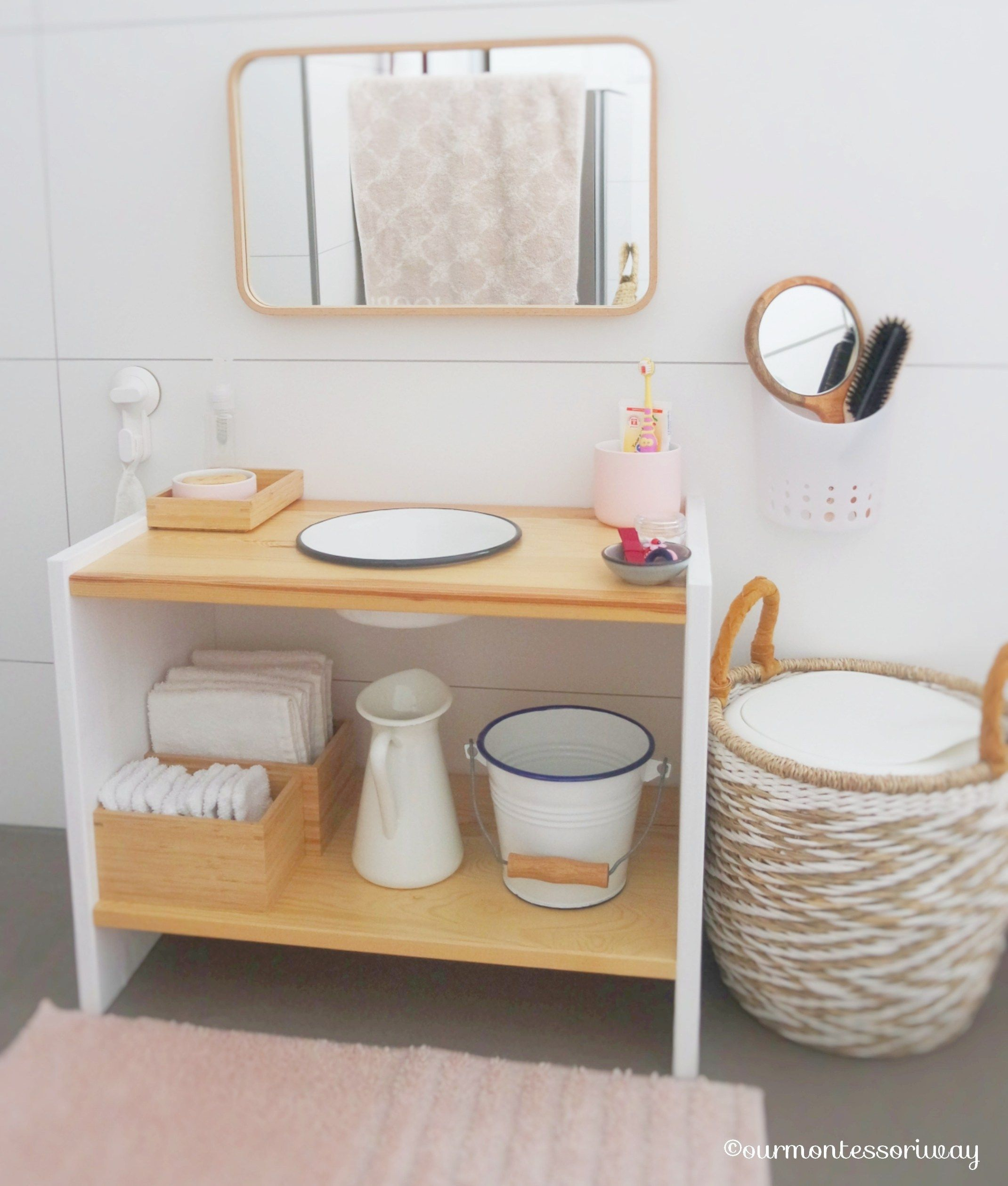 Cosima S Area In The Bathroom At 18 Months Part 1 Our Montessor In 2020 With Images Montessori Furniture Baby Bathroom Montessori Playroom