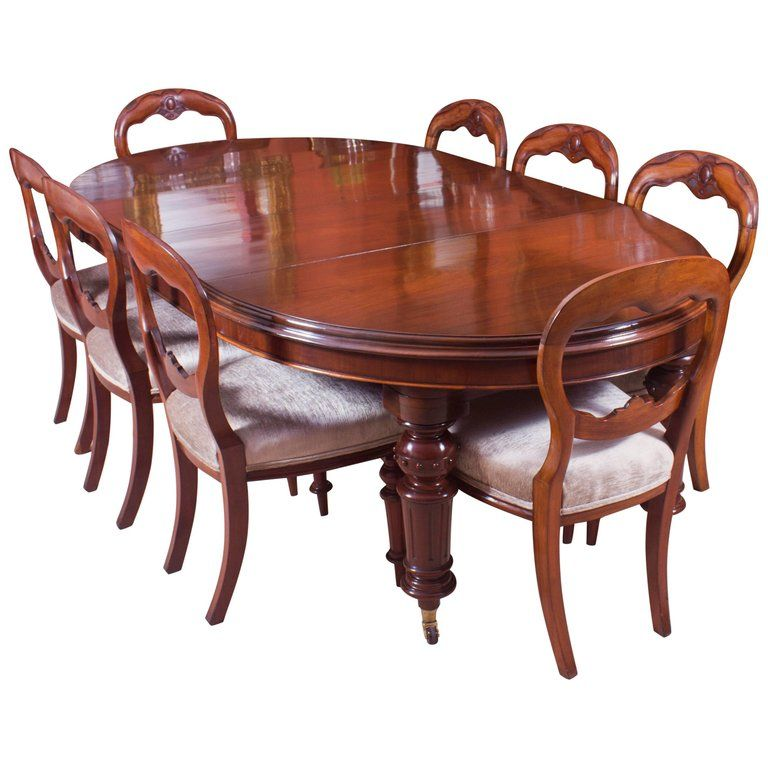 19th Century Victorian Oval Dining Table And Eight Antique Chairs