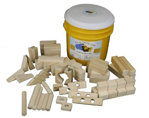 Back To Blocks My Building Bucket Wooden Block Set 80 Wooden Blocks For  Kids For Boys Girls 15 Shapes Yellow Storage Bucket For Easy Clean Up 100  All ...