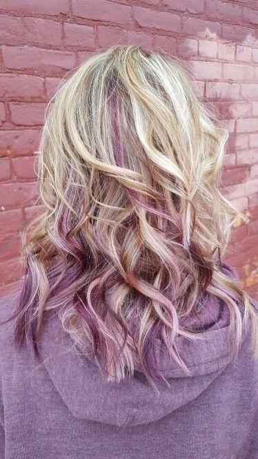 Blonde With Purple Peekaboo Hair Hair Streaks Peekaboo Hair Colors