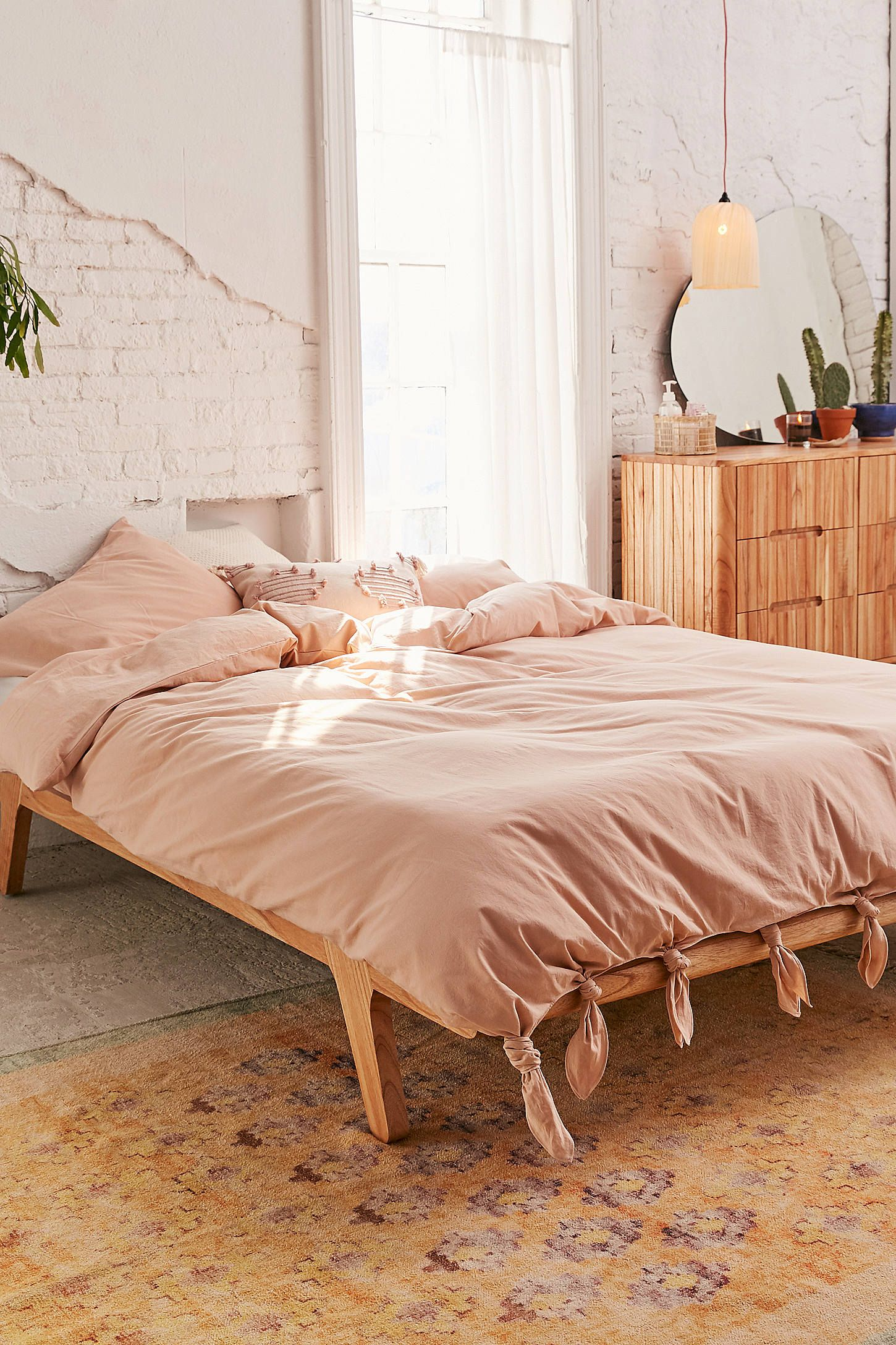 Knotted Washed Cotton Duvet Cover Urban Outfitters Stylish