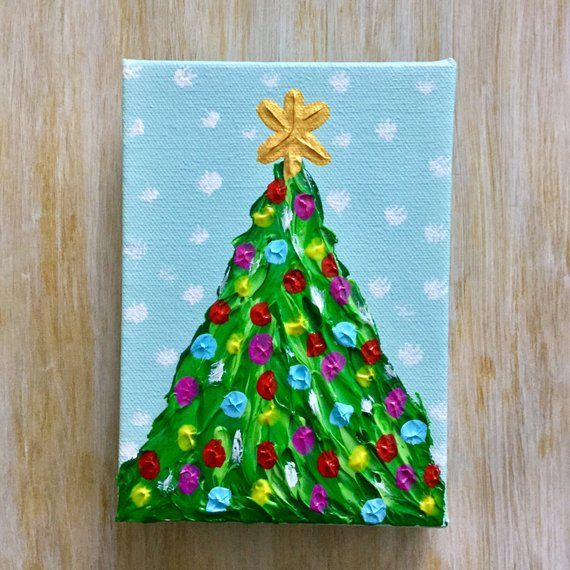 Christmas Painting Christmas Tree Winter Decoration Holiday Etsy In 2020 Christmas Tree Painting Christmas Paintings Christmas Tree Canvas