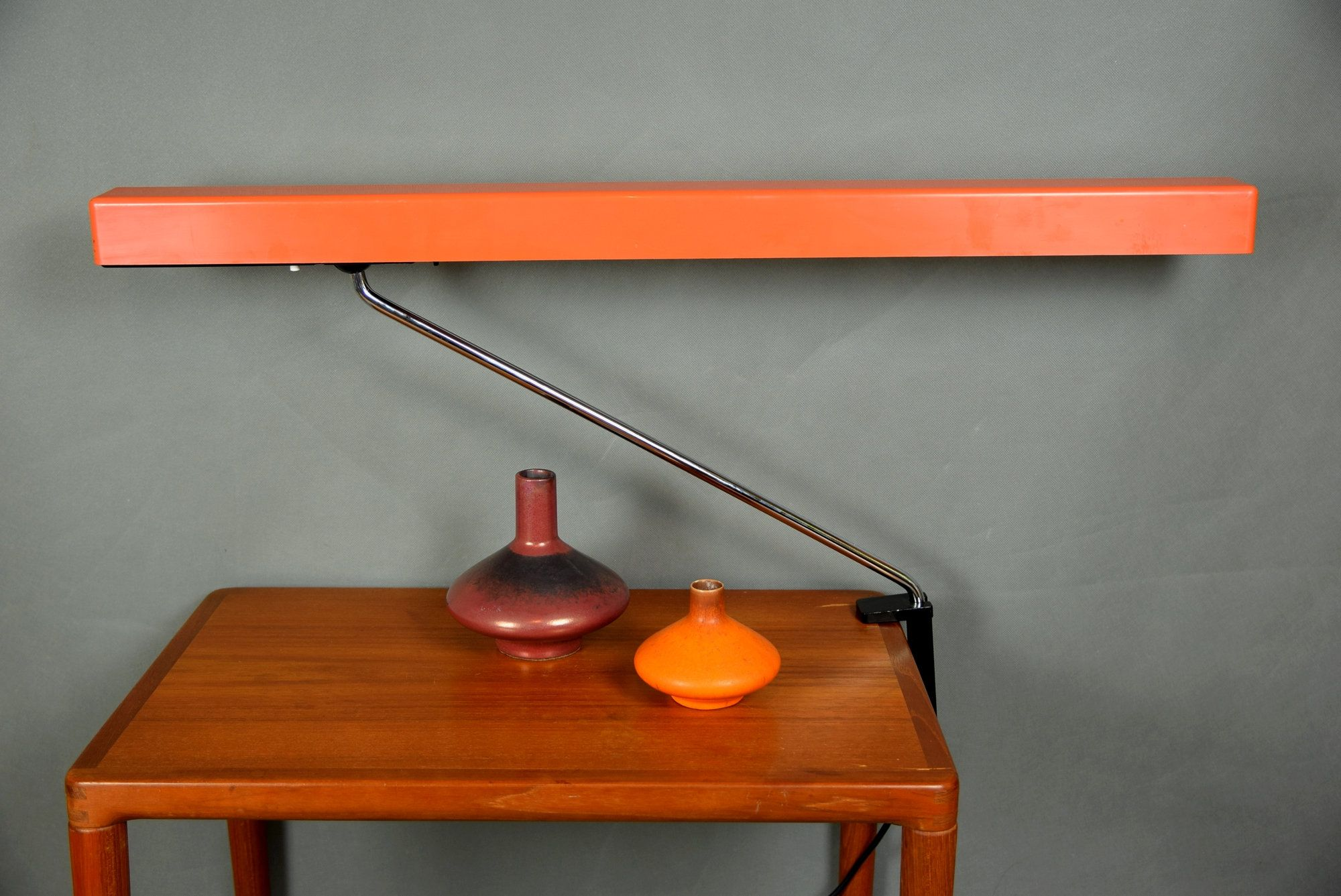 Rare German Architec Lamp Functional Clamp On Lamp Desk Lamp Adjustable Arm Light Orange Space Age 70s Schreibtischlampe Klemmlampe Lampe