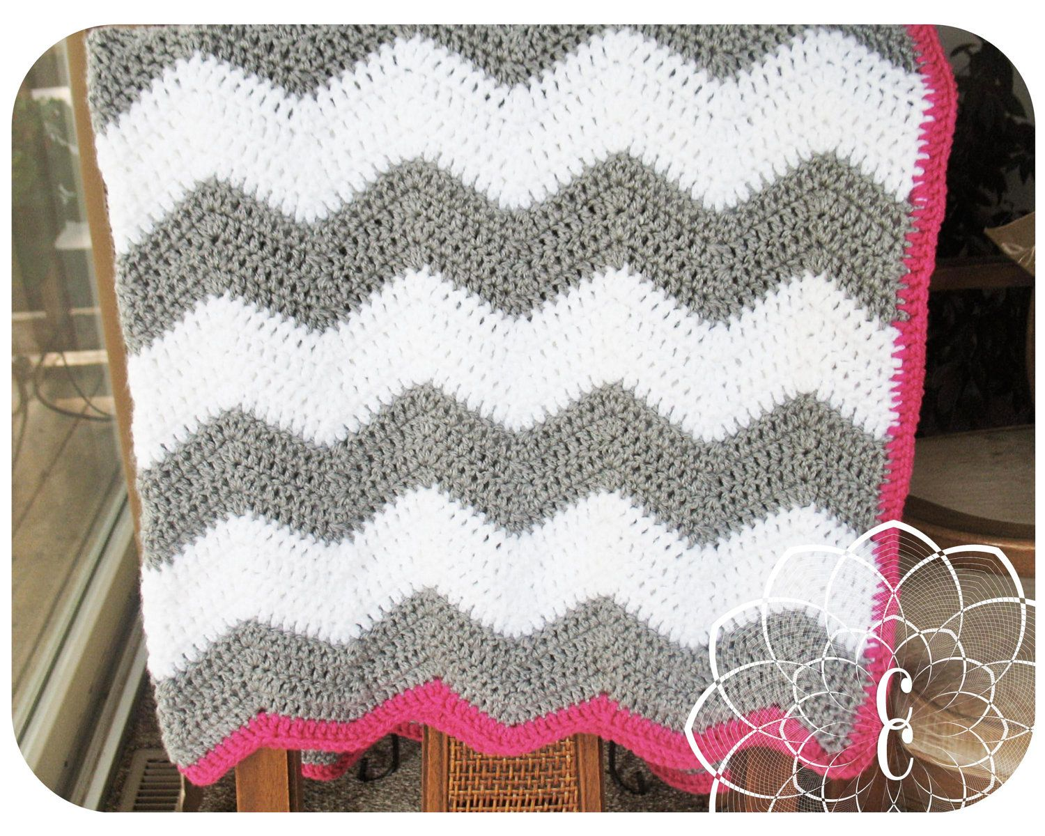 CHEVRON BABY BLANKET : white and grey chevron crochet baby blanket ...