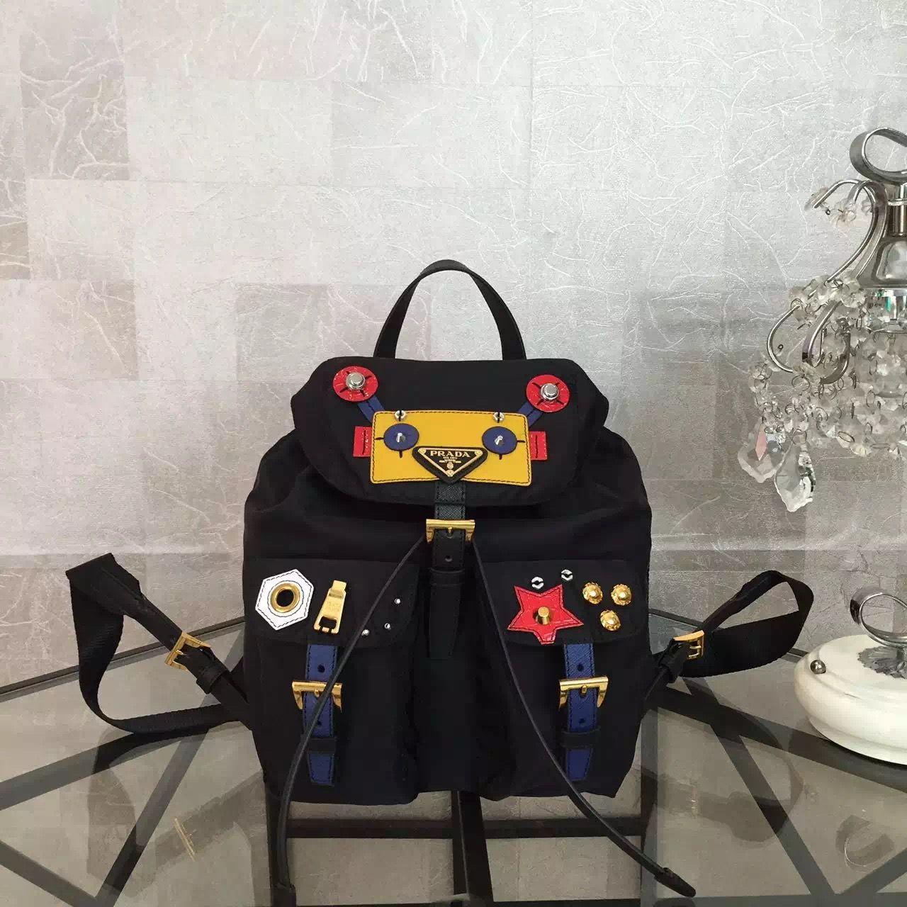 52cc1a8ab004 Prada Fabric Robot Backpack 1BZ677 Black | Prada Backpacks on Sale ...