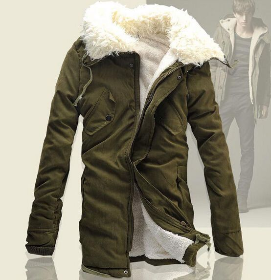 Details about Winter Mens Military Trench Coat Faux Fur Hooded ...