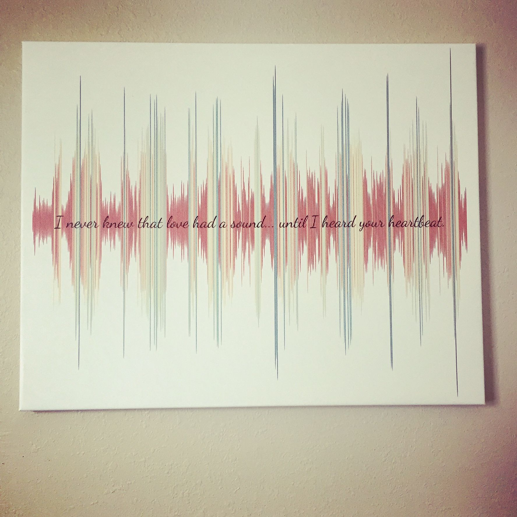 Baby bed heartbeat - It S A Canvas Of Our Baby S Actual Heartbeat The First Time We Heard It I Can T Express How Much I Love This
