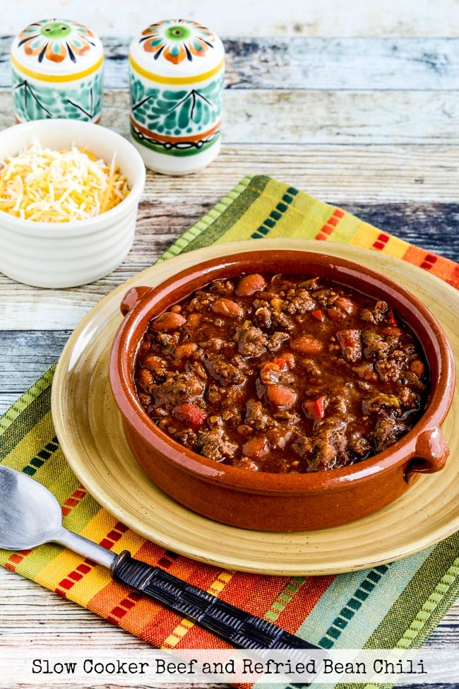 Slow Cooker Beef and Refried Bean Chili – Kalyn's Kitchen