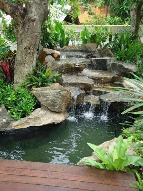 gartenideen wasserfall pflanzen harmonisch Gartenteiche