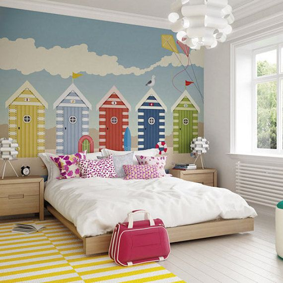 Removable Wallpaper Murals Beach Huts Wallpaper Mural | Seaside Decor | Beach Themed