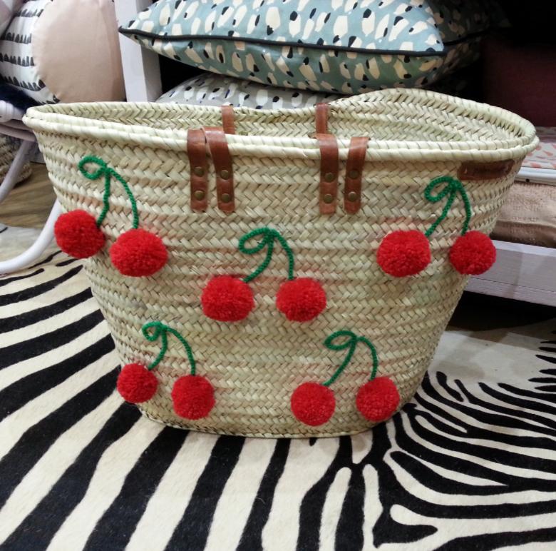 Cherry Pom Pom Straw Tote Bag