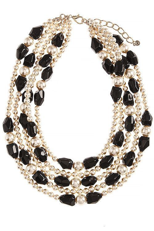 FAUX PEARL MIXED BEADED NECKLACE SET