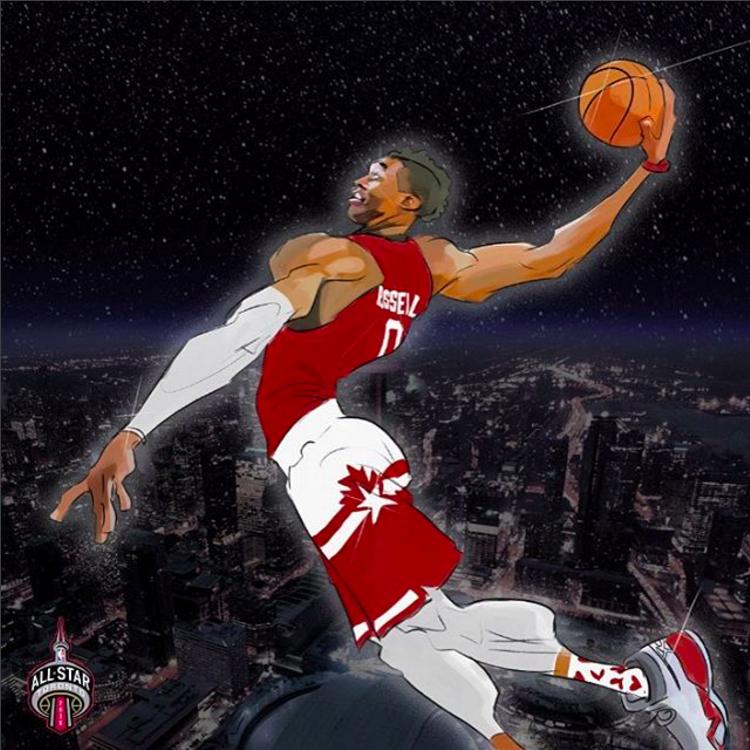 Russell Westbrook All Star In Flight Illustration Russell Westbrook All Star Nba Art Westbrook