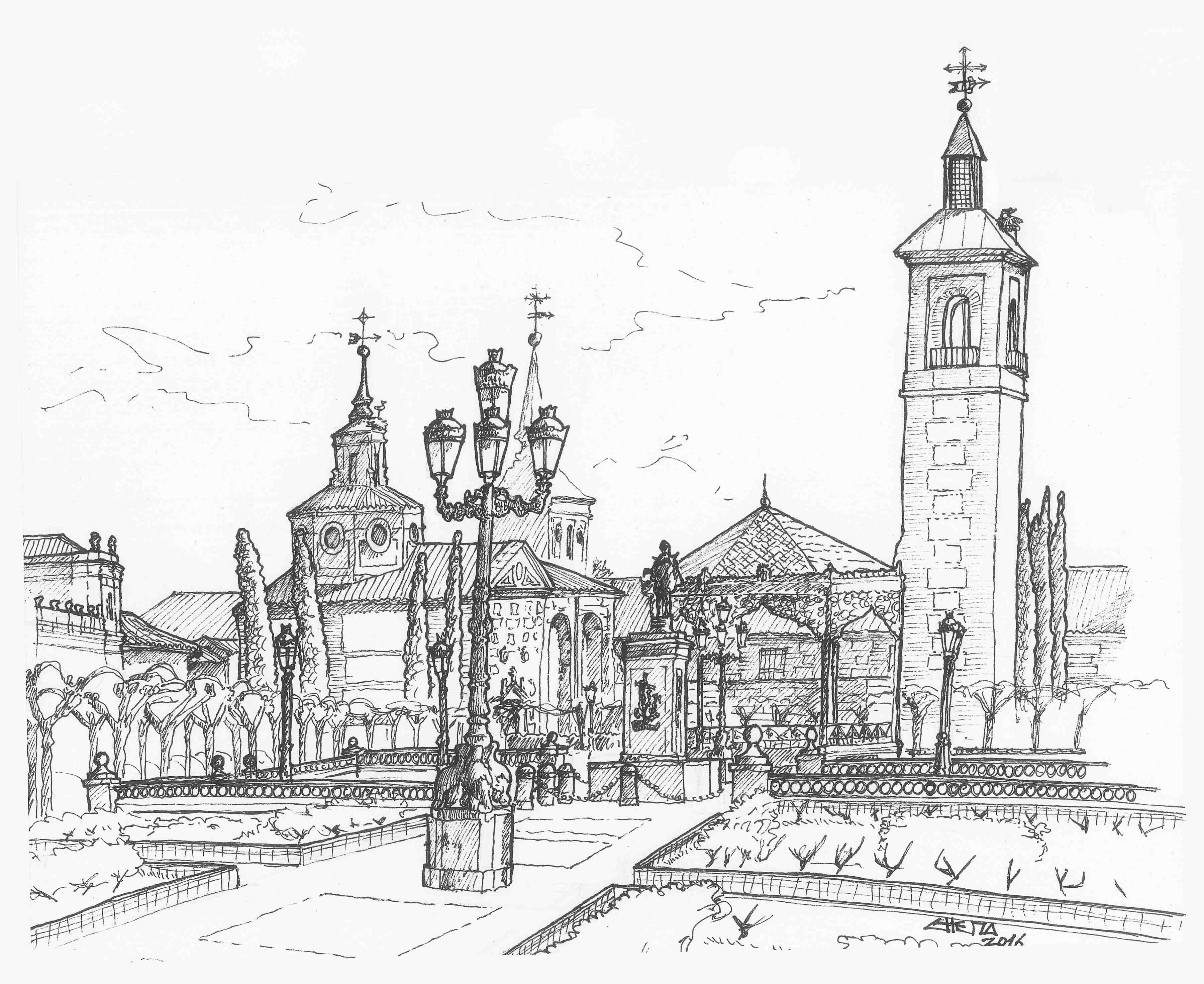 Alcala alcaladehenares illustration drawing sketch ilustracion dibujo boceto marker Arquitectura alcala de henares