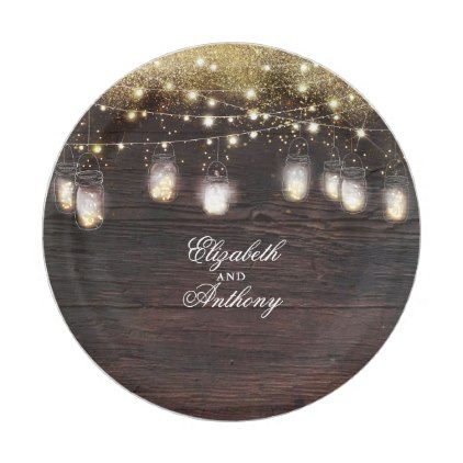 Mason Jar Lights Rustic Wedding Paper Plate | Mason jar lighting ...