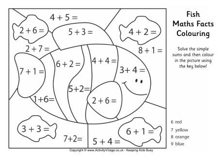 Fish Maths Facts Colouring Page Fun Math Worksheets Math Facts Fun Math