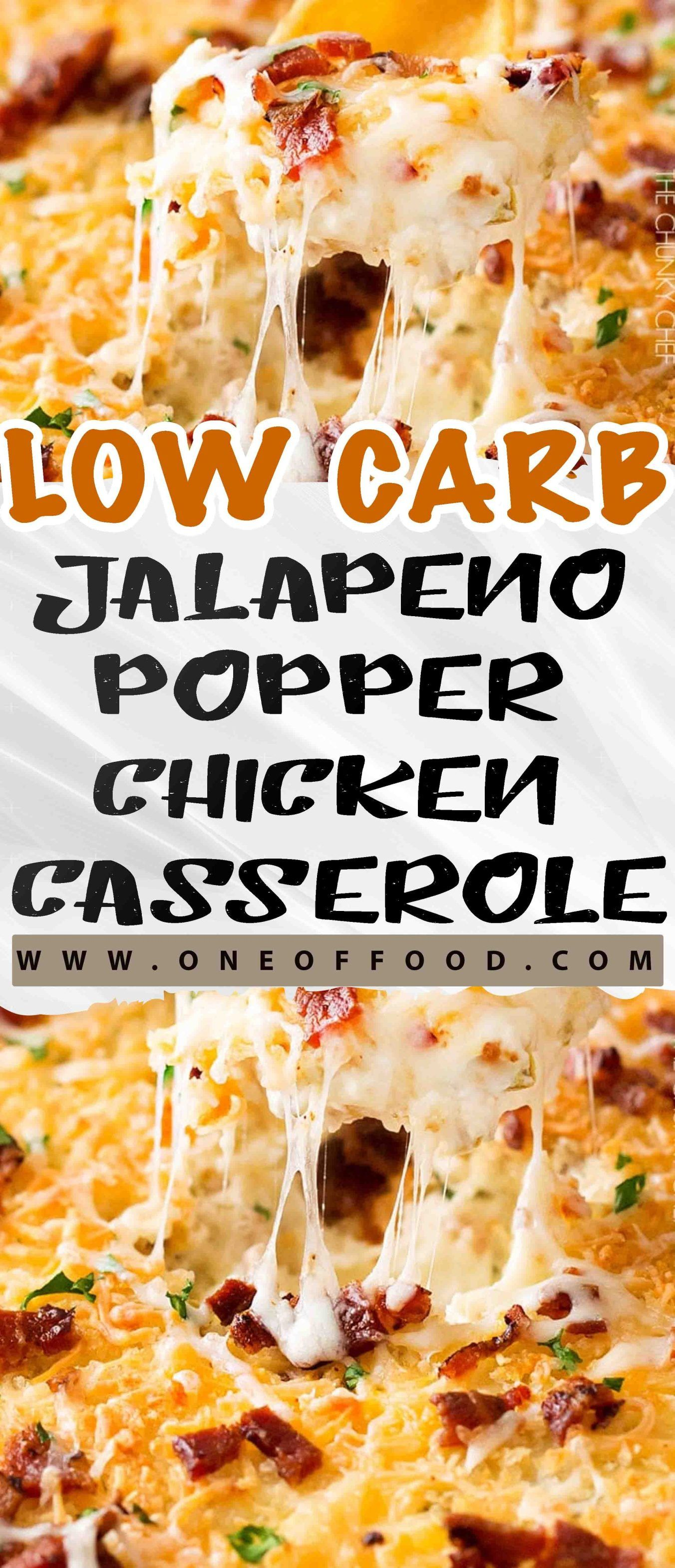 Chicken in a creamy cheesy sauce with pieces of jalapeno and loads of bacon. This Jalapeno Popper Chicken Casserole is one of the best casseroles ever… #creamychickencasserole