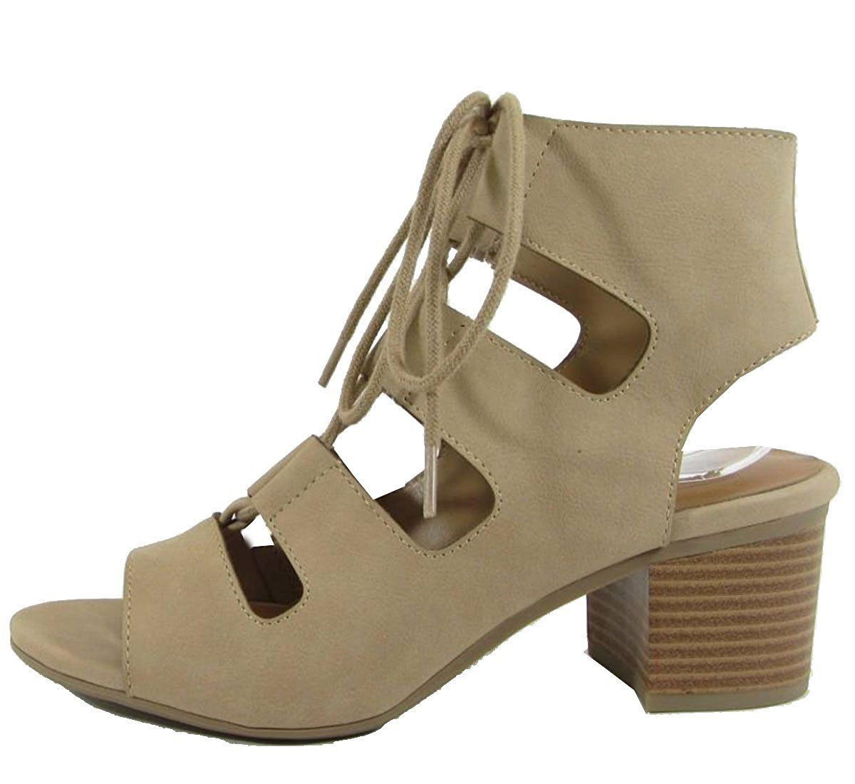 City classified women's cutout lace up stacked chunky heel sandal