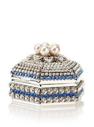 Isabella Adams Freshwater Pearl & Swarovski Crystal Hexagon Keepsake Box, September (Sapphire)