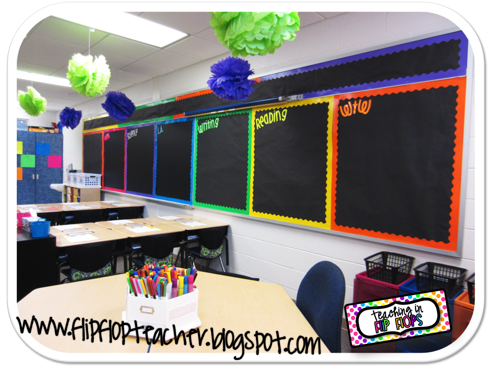 Classroom Decor Black : Teaching in flip flops love the black background with