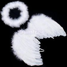 White Feather Wings Angel Baby Fairy + Free Halo (M)