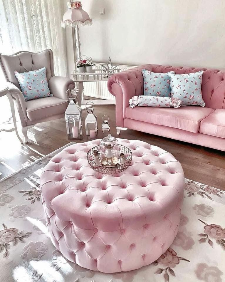 Pink Living Room Design: #house #living #aesthetic #pink #furniture #princess #life