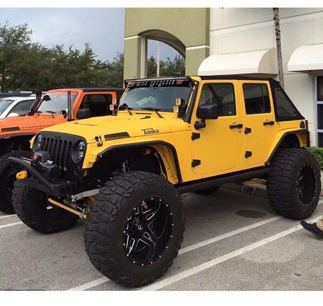 Yellow Tonka Jeep Jk Love That Lift Jeep Jk Mobil Sport Mobil
