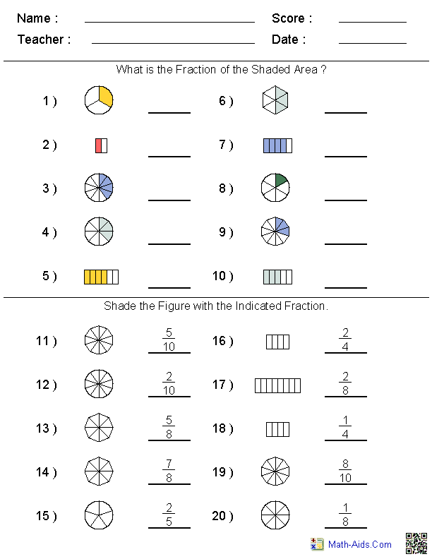 Math Worksheets Dynamically Created Math Worksheets Fractions Worksheets Printable Math Worksheets Fractions