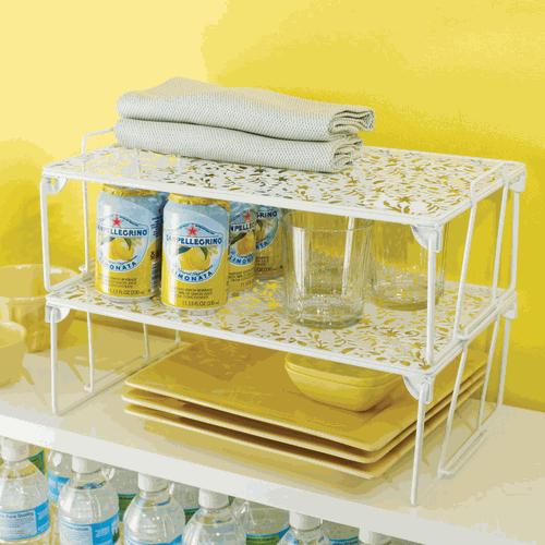 Vinea Shelf Organizer Large White Kitchen Organize Compantry Storage Or Stackable Shelves Shelving Racks Shelf Organization