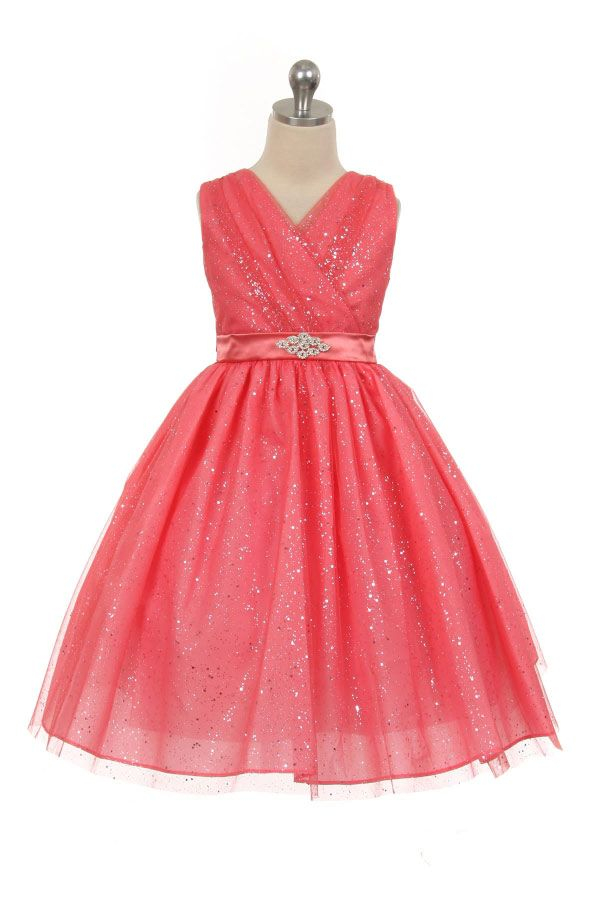 Girls Dress Style 341 - Sparkle Dress with Rhinestone Waist Accent in Choice of Color  Watch your little one shine bright like a little jewel in this glitzy number. You will want to enlarge the picture to see all the beautiful sparkle throughout the entire dress Dress comes with a sash that you can tie in the back to your liking.  http://www.flowergirldressforless.com/mm5/merchant.mvc?Screen=PROD&Product_Code=MB_341CO&Store_Code=Flower-Girl&Category_Code=Coral_Peaches_Orange
