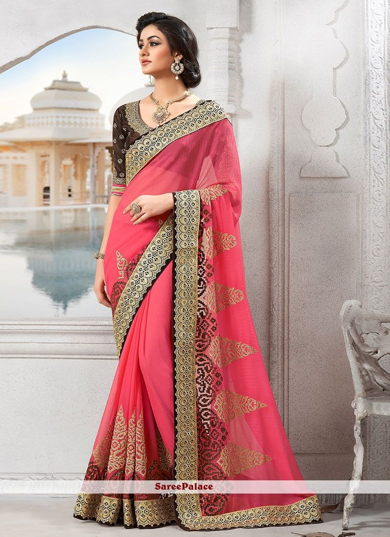 993feff51e Brilliant Pink Faux Georgette Border Work Designer Saree in 2019 ...