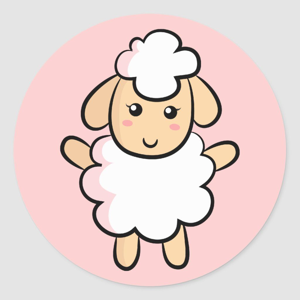 Cute White Cartoon Sheep With Pink Shading Classic Round Sticker Zazzle Com In 2021 Diy Eid Cards Eid Mubarak Stickers Eid Stickers