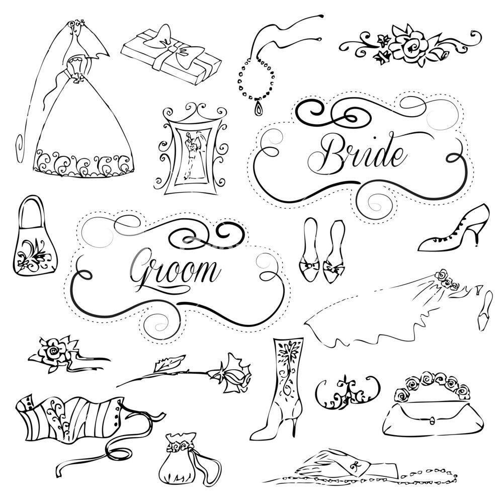 Download Wedding Set Of Cute Glamorous Doodles And Frames Stock Image and other stock images, photos, icons, vectors, backgrounds, textures and more.