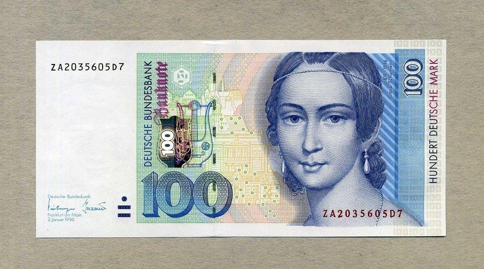 100 Mark 02.1.1996 DEUTSCHE BUNDESBANK Ersatznote ZA