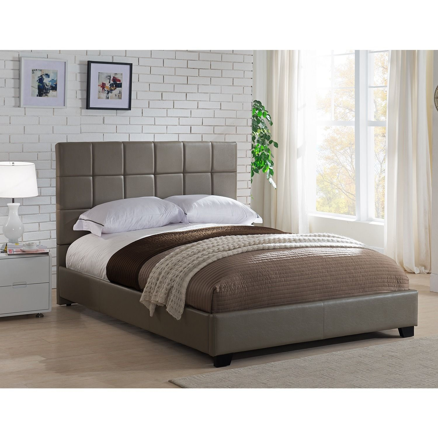 Mantua Kenville King Taupe Platform Bed (king, taupe faux leather ...