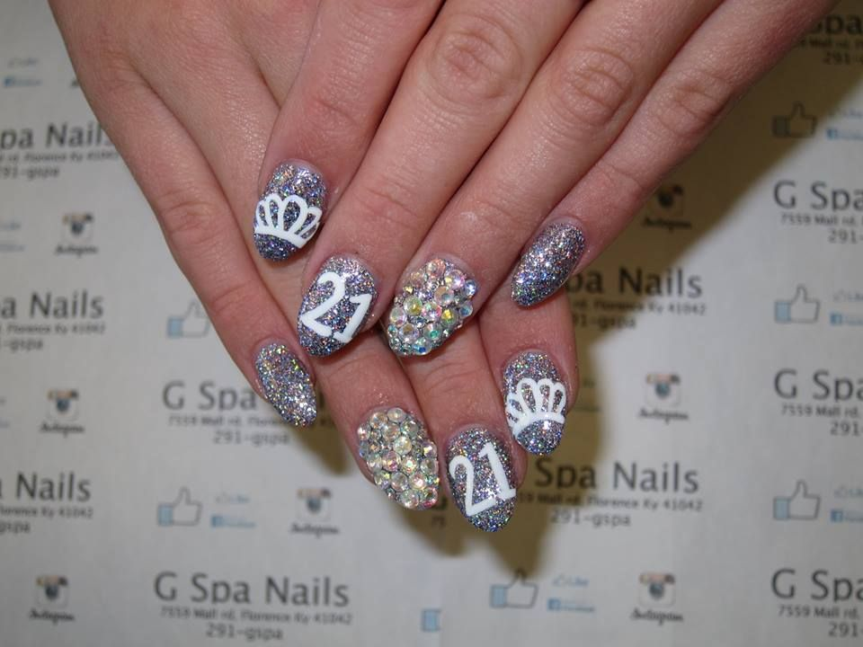 21st birthday nails diamonds