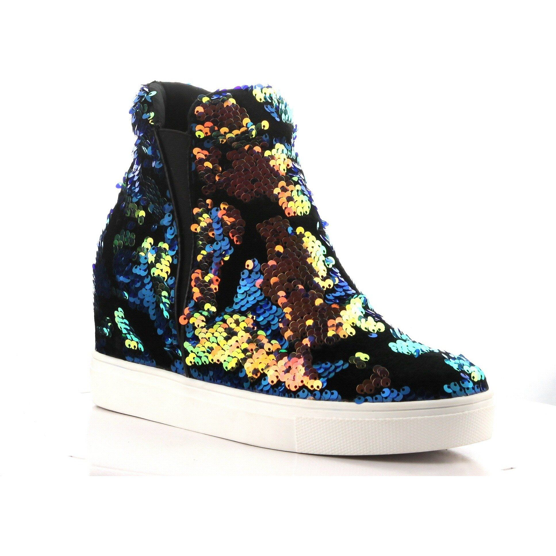 cd76f2a63ddb Orange Velvet Holographic Sequins High Top Wedge Sneaker