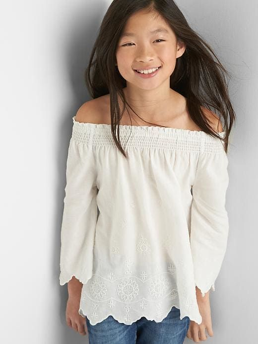 db98e4626e81 Gap Girls Embroidery Off-Shoulder Top New Off White Size M ...