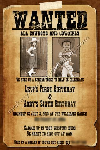 Printable Wanted Poster Wanted poster invitations for a shared - create a wanted poster free