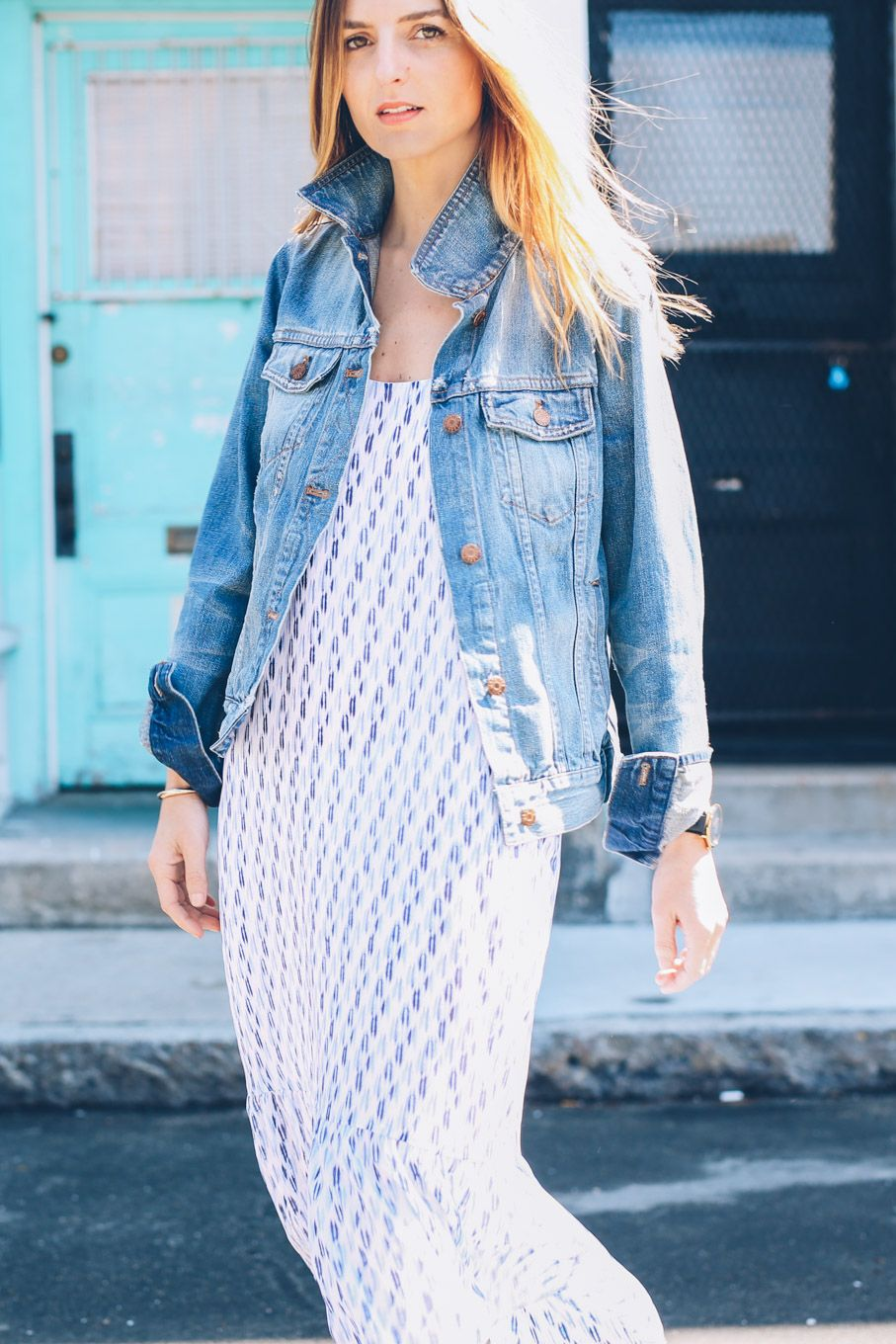 9220f337bcc Printed Midi Dress and Jean Jacket on Prosecco   Plaid