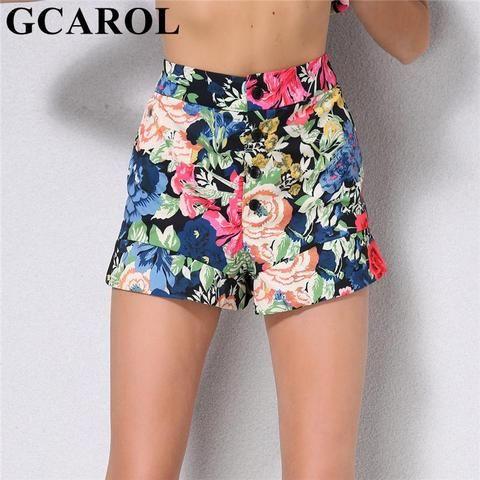 4faa44b47 GCAROL 2018 New Arrival Women Floral Shorts Mid Waisted 4 Bottom Colorful  Shorts High Street Summer Sweet Shorts
