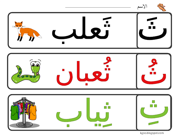 كلمات حرف ث بالحركات Arabic Alphabet For Kids Arabic Kids Arabic Alphabet