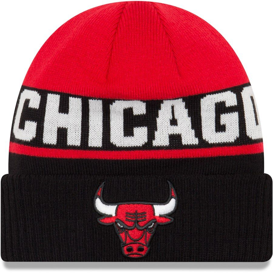 0ae68bdabe3ea8 Men s Chicago Bulls New Era Black 2018 City Edition Cuffed Knit Hat ...