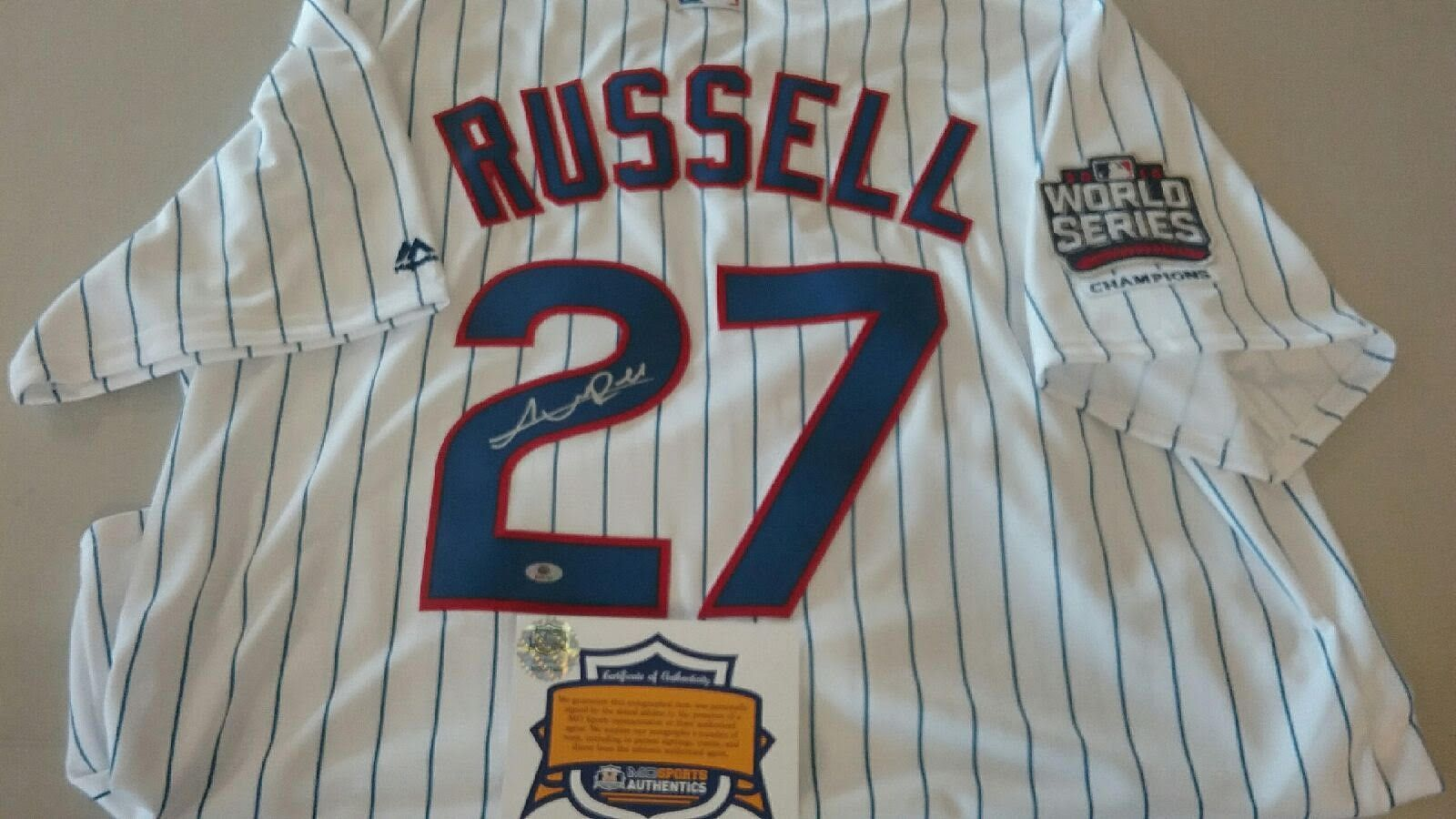 innovative design 844fb 5550b Chicago Cubs Addison Russell Signed Autographed World Series ...