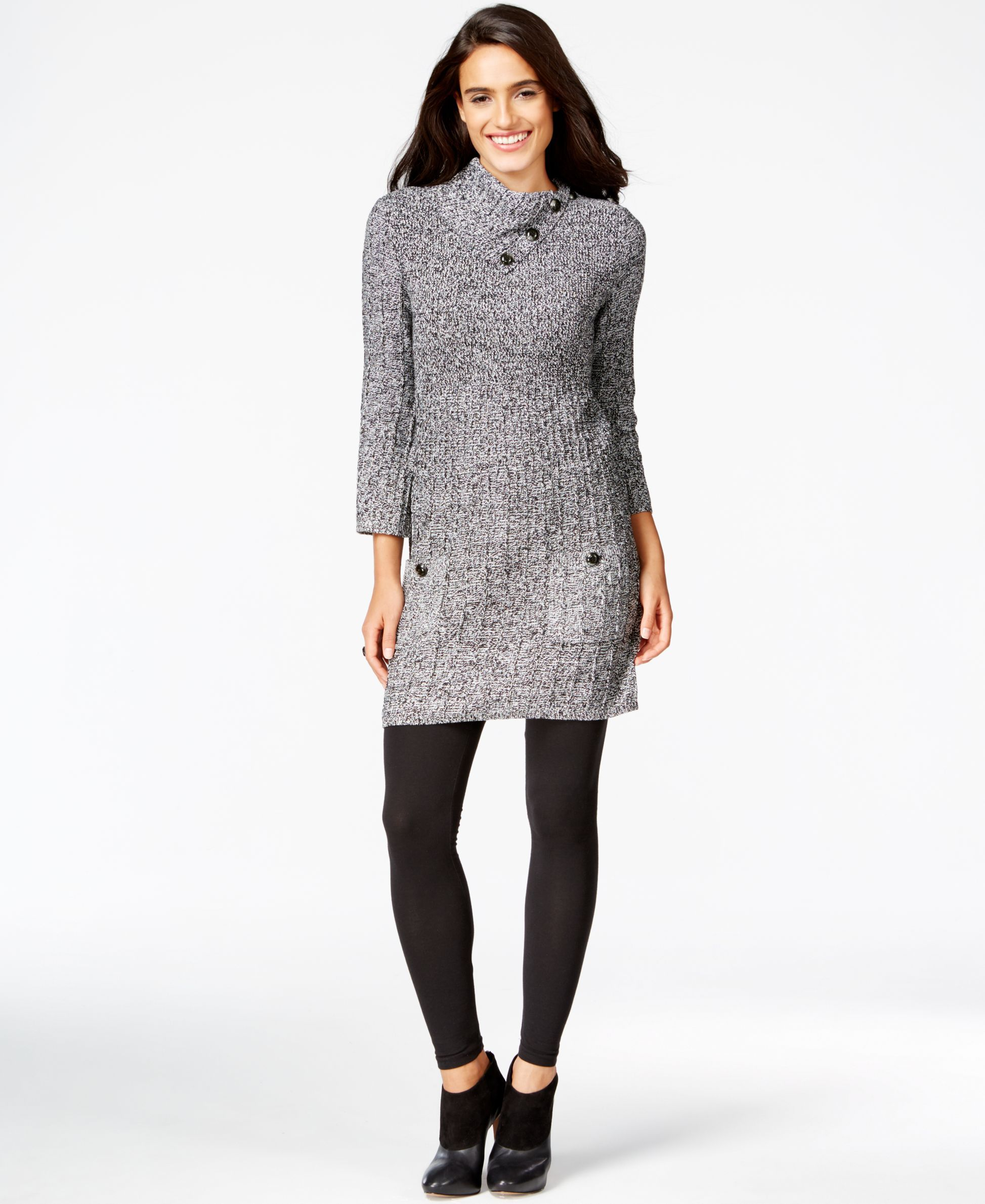 Style&co. Petite Button-Collar Tunic Dress, Only at Macy's ...
