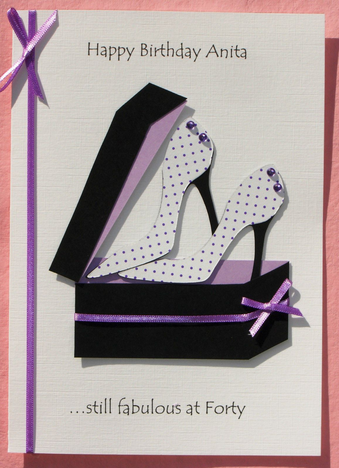 The Card Is Completed With A Toning Ribbon And Bow In The Example Photographed The Card R Sister Birthday Card Birthday Cards For Women Birthday Cards For Men
