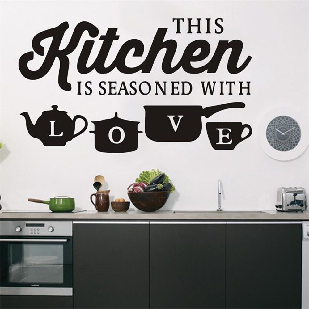 Creativity Background Decoration Kitchen English Waterproof Wall