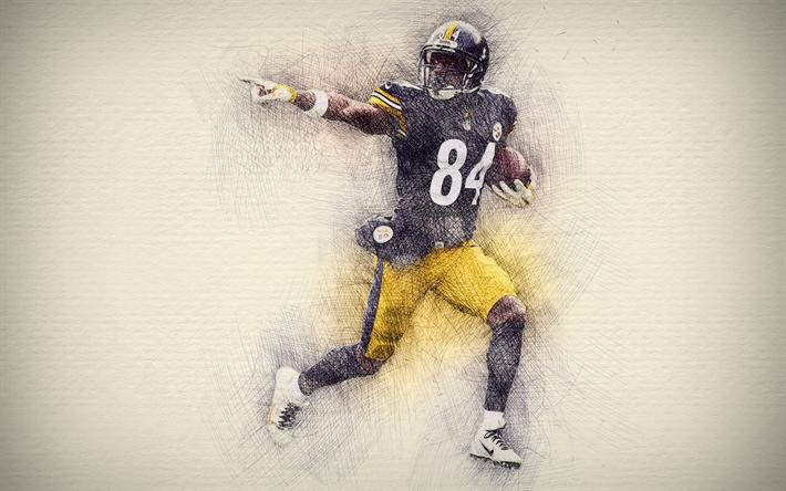 Download Wallpapers Antonio Brown 4k Artwork American Football Pittsburgh Steelers Nfl Drawing Antonio Brown Besthqwallpapers Com Artwork Steelers Pittsburgh Steelers