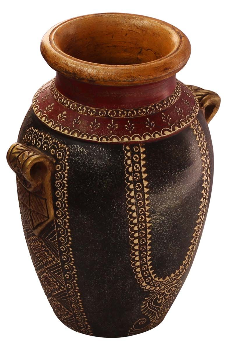 Bulk wholesale handmade 10 black red colored flower vase in handmade terracotta flower vase in bulk wholesale black red colored flower vase decorated with cone painting art in traditional look motifs flowers in reviewsmspy